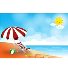 Beach landscape sea sun sky and cloud summer vector