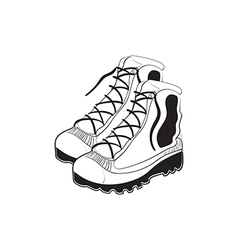 Hand drawn mountain boots vector