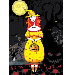 Halloween witch cemetery night vector