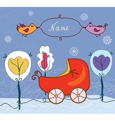 Baby card with pram for winter vector
