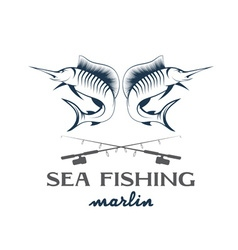 Vintage sea fishing with marlin vector