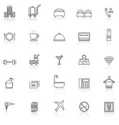 Hotel line icons with reflect on white vector