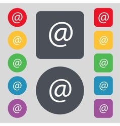 Commercial at set flat modern web colour button vector