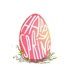 Single easter egg with nest floral decoration in vector