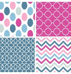 Set of blue and pink ikat geometric seamless vector