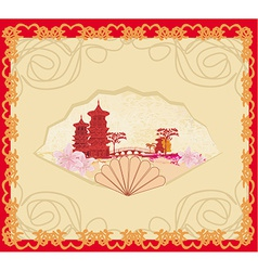 Decorative opened fan with patterns of chinese vector