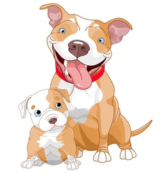 Pit-bull mother and cub vector