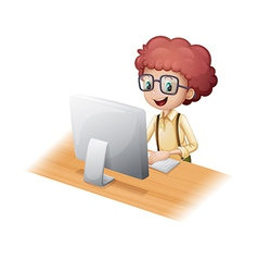 A smart young man surfing the internet vector