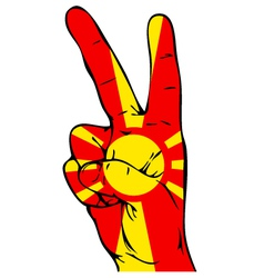 Peace sign of the macedonian flag vector