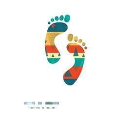 Vibrant ikat stripes footprints silhouettes vector