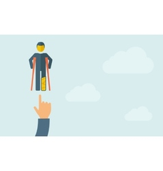 Hand pointing to a man with crutches vector