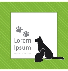 Silhouettes of cat and dog on the poster template vector