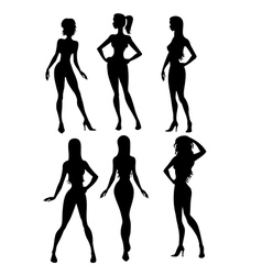 Six girls silhouette vector