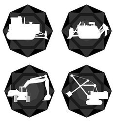 Badges with the technique of coal mining vector