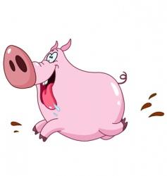 Pig running vector