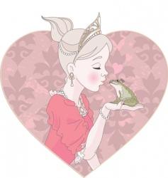 Princess kissing frog vector