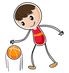 A boy dribbling a ball vector
