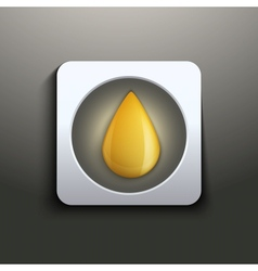 Oil button with yellow drop vector