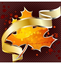 Shiny red leaf with gold banner vector