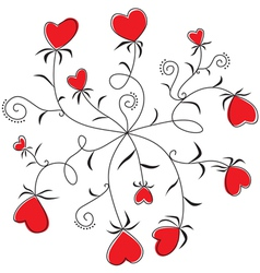 Round dance flowers hearts vector