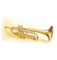 Brass trumpet vector