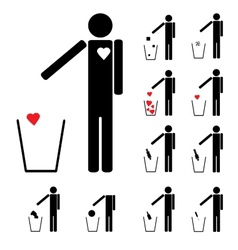 Set of eleven figures throwing in the trash heart vector