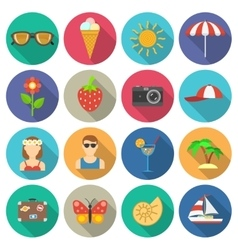 Summer and vacations icons set vector