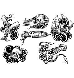 Octopus squid group vector