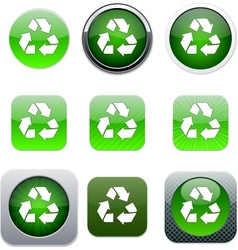 Recycling green app icons vector