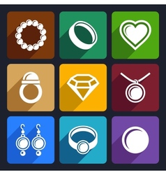 Jewelry flat icons set 33 vector