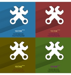 Color set wrench tool to work flat modern web vector