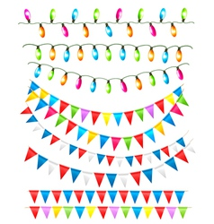 Strings of holiday lights and birthday flags white vector
