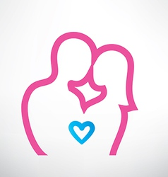Romantic couple in love outlined symbol vector