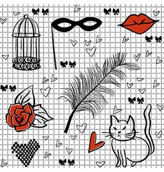 Seamless romantic elements pattern vector