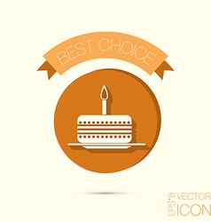 Icon birthday cake symbol of cake celebrating the vector