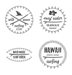 Surfing emblem set vector
