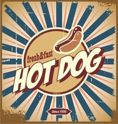 Retro hot dog sign vector
