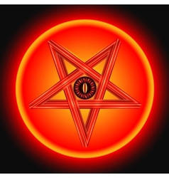 The eye of satan in the metal pentagram vector