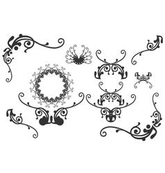 Retro floral graphic design elements vector