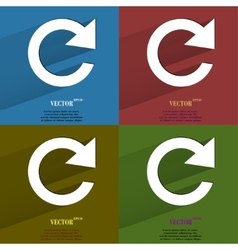 Color set arrow update flat modern web button with vector