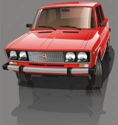 Red shiny car vector