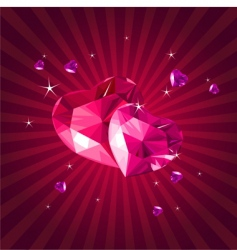 Valentine card with crystal hearts vector