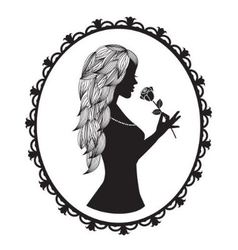 Female silhouette with long hair holds a rose vector