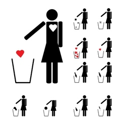 Set of eleven woman figures throwing in the trash vector