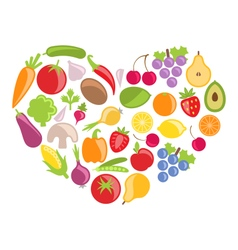 Set colorful vegetables and fruits in heart shape vector