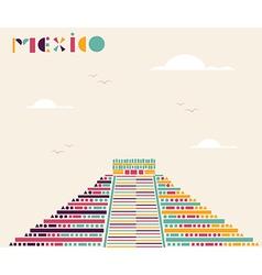 Mexico pyramid travel background vector