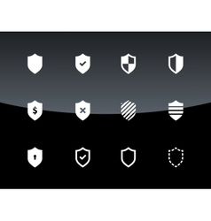Shield icons on black background vector