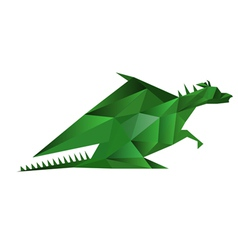 Abstract origami green dragon isolated on white vector