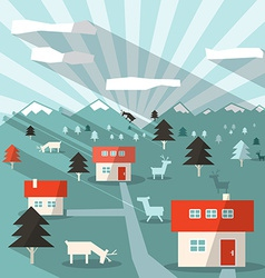 Landscape with houses deers mountains and forest vector