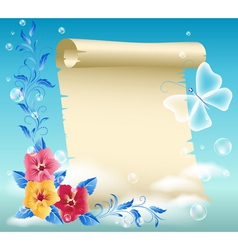 Parchment and flowers vector